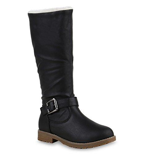 Stiefelparadies Mujer botín Botines de Invierno cálido Forro Cuero Artesanal Hebilla 126198 Negro 39 Flandell