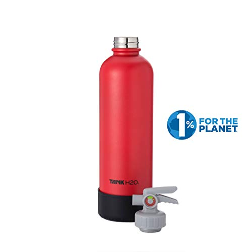 TANKH2O Fire Extinguisher Vacuum Insulated Water Bottle: Great Gift and Accessory for Firefighters | Holds 700mL | Food-grade stainless steel bottle, BPA-Free Cap, Silicone Boot (Red)