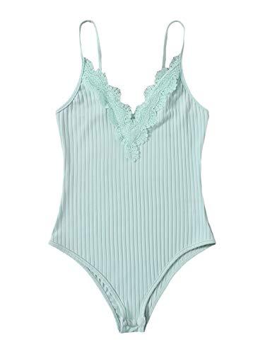 Romwe Women's Ribbed Knit Spaghetti Strap Lace V Neck Cami Bodysuit Tops Mint Blue S