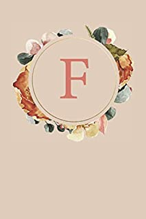 F: Peach Monogram Sketchbook | 110 Sketchbook Pages (6 x 9) | Floral Watercolor Monogram Sketch Notebook | Personalized Initial Letter Journal | Monogramed Sketchbook