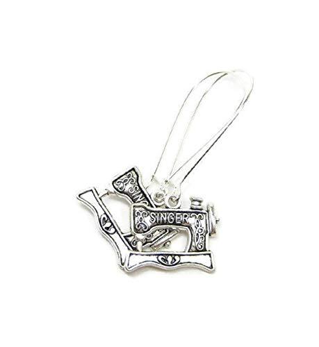Silver Knight Pendientes de máquina de coser Singer sin níquel, cables de...