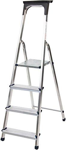 Brennenstuhl Haushaltsleiter aus Aluminium mit Arbeitsschale (Alu-Stehleiter mit 4 Stufen, Traglast max. 150 kg)