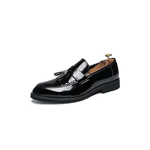 TiandaoMXL Herren Oxford Casual Britische Mode Quaste Abdeckung Fuß Runde Zehe Slip On Formal Business Kleid Schuhe Schuhe (Color : Schwarz, Size : 40 EU)