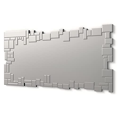 DekoArte E023 - Espejos Decorativos Modernos De Pared   Espejos Decoración para Tu Salón Dormitorio, Entrada, Recibidor   Espejos Sofisticados Grandes Rectangular Color Plata   1 Pieza 140 x 70 cm