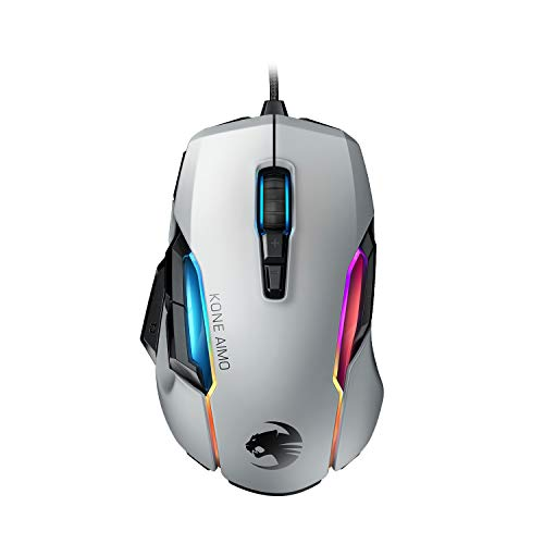 ROCCAT Kone AIMO Gaming Mouse (High Precision, Optical Owl-Eye Sensor (100 to 16.000 DPI), RGB Aimo LED Illumination, 23 Programmable Keys, Designed in Germany) white(remastered)