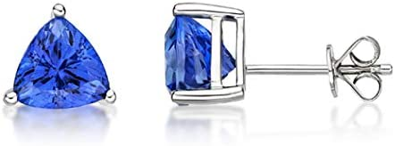 High order Femme Luxe 1.25 Our shop OFFers the best service carat Trillion 6mm Stud Set Earrings Tanzanite