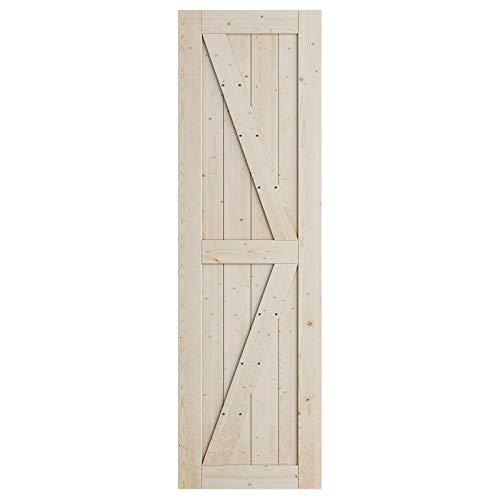 SmartStandard 24in x 80in Sliding Barn Wood Door Pre-Drilled Ready to Assemble, DIY Unfinished Solid Nature Wood Panelled Slab, Interior Single Door Only, Natural, K-Frame (Fit 4FT Rail)