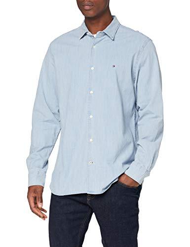 Tommy Hilfiger Flex Chambray Shirt Camisa, Denim, L para Hombre