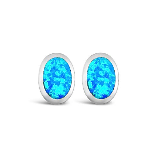 Ashton and Finch Sterling Silver Large Blue Opal Oval Stud Earrings | Earrings For Women | Jewellery for Girls and Women | For Birthdays, Weddings And Special Occasions