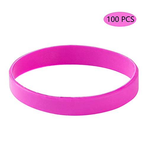 Vitalite 100pcs/set Plain Silicone Wristbands Blank Rubber Bracelets for Children (Rose)