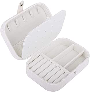 Studded Storage Box with Sponge Flannel Jewelry Storage Box Large Capacity Ring Earrings Display Box (Color : White)