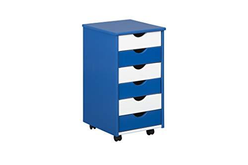 Inter Link Rollcontainer Bürocontainer Holzkommode Schubladenschrank Rollwagen Massivholz Blau und Weiss lackiert