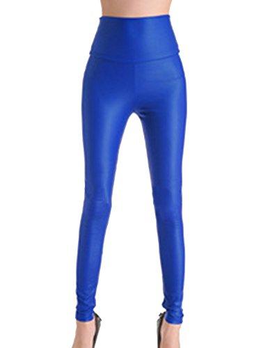 Gladiolus Pantalón Símil Cuero Mujer Cintura Alta Leggings Cuero PU Pantalon Treggings Leggins Azul Zafiro L