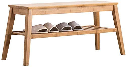 Porche Zapatero de bambú de 2 niveles Banco de almacenamiento de zapatos otomano con cojín de asiento Organizador de zapatos de pasillo Ideal para baño / sala de estar y pasillo Artículos para el hoga
