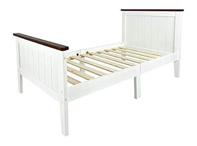 [ROBUSTO Y DURADERO] Cama fabricada a partir de los resistentes tablones de madera de pino. Adicionalmente las tablas decoradas en el color de marrón oscuro. Somier compuesto de las tablas de DM de 12 mm. Borde de la cama hecha de madera firme de esp...