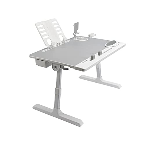 YUDIZWS Tavolino da Letto Regolabile in Altezza Multifunzione Tavolo Pieghevole per Laptop Lettura E Vassoio La Colazione Grande con Cassetto Portabicchieri Scrivania (Size : 60 * 45cm)