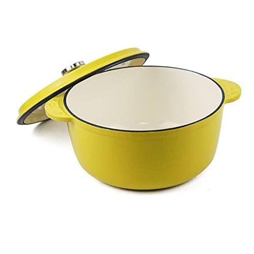 Horno Holandés No-Stick Esmalte Forma Redonda Iron Iron Holandes Holanda Horno Pot con tapa Adecuada para pan para hornear Uso en el horno eléctrico de gas (amarillo, verde, púrpura)
