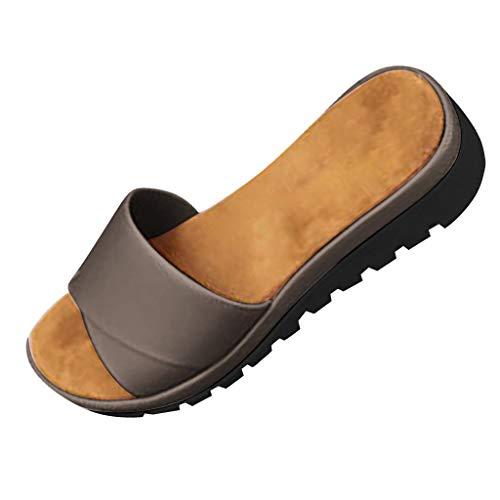 Pantofole Donna Sandali Estivi Plateau Infradito alla Caviglia Ciabatte Outdoor Antiscivolo da Spiaggia Flip-Flop Belle e Comode Pantofole Usato per Scarpe da Sposa Economiche (EU:35, Grigio)