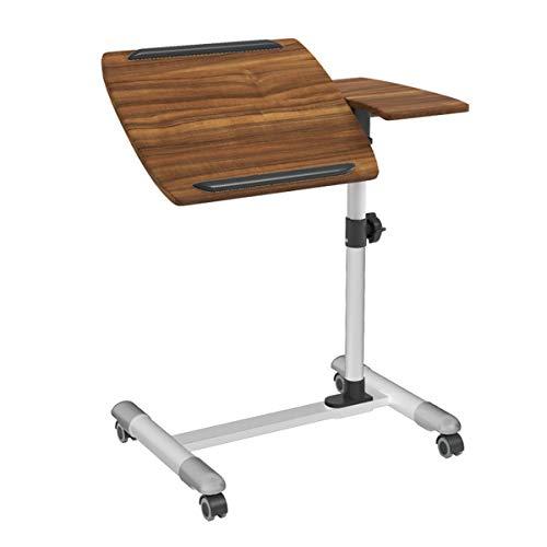 LYLSXY Tabla portátil Mesa Auxiliar sofá Ajustable la Mesa con Las Ruedas portátiles con el Escritorio del Ordenador portátil (Color : Walnut)