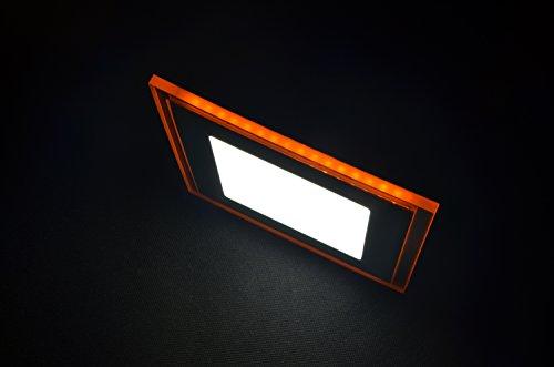 SpiceLED 3d LED Panel 10W bianco caldo con effetto luce in arancione–Lampada da soffitto a LED quadrato sottile Slim UltraSlim Faretto da incasso