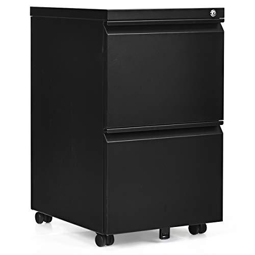 COSTWAY Rollcontainer Metall, Büroschrank mit 2 Schubladen, Aktenschrank abschließbar, Bürocontainer mobil, für Zuhause und Büro (schwarz)