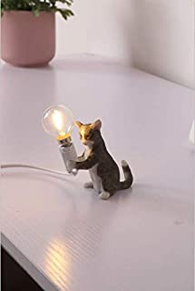 Modern Resin Cat Lamp Table Lights Creative Desk Lamps Bedside Gift Decoration Grey (A-Style)