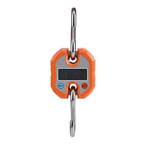 Balanza digital para colgar, 150 kg/50 g, mini escala de grúa portátil, LCD, gancho electrónico, balanza para colgar en el hogar, granja, caza, mercado de alimentos, pesaje expreso (naranja)