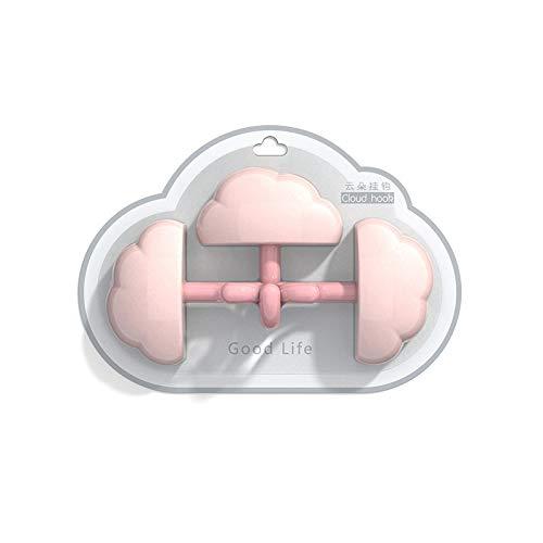 Colgador de pared para colgar en la puerta de baño, diseño de nubes, ganchos autoadhesivos, ganchos para ropa, toallero, accesorios de cocina (color: rosa)