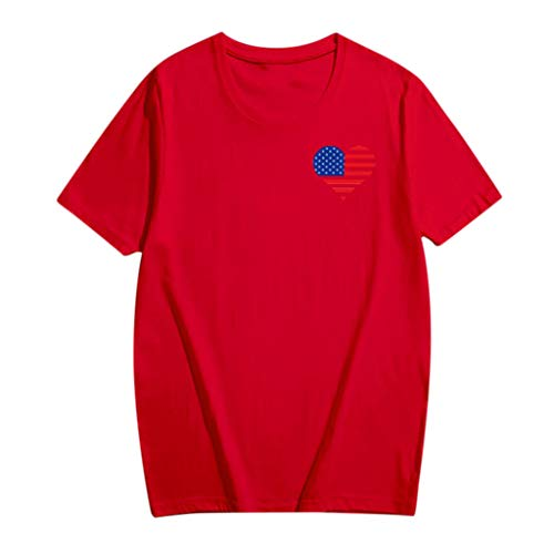 Price comparison product image Sunhusing Unisex Round Neck Short Sleeve Plus Size T-Shirt Love Heart Shape American Flag Print Tops Parent-Child Shirt (S,  Red)