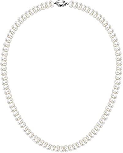 zonger Collar de hebras de Perlas cultivadas de Agua Dulce Blancas de 7-10 mm, joyería Fina de Plata esterlina para Mujer, Regalo de cumpleaños