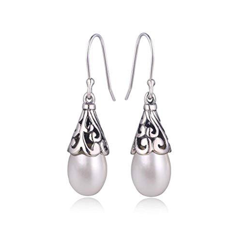 WOZUIMEI Chinese Style Earrings Eardrop Indonesian Style Retro Earrings S925 Sterling Silver Jewelry Women's Natural Pearl Earrings Match All Earringswhite