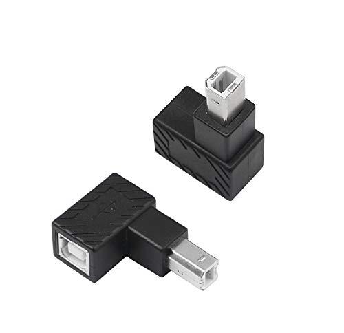 Adaptador de impresora USB 2.0 tipo B de YACSEJAO, 2 unidades de 90 grados USB 2.0 B macho a hembra tipo B, adaptador de impresora para impresora, escáner, disco duro móvil y más ((ángulo superior))