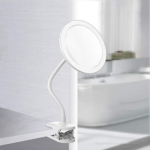 ALIIYS New Clip Mirror Hose Clamp Makeup Mirror LED Fill Light Wall Mirror Desktop Double Mirror with Enlargement by A Factor of 5 Tabletop Mirrors HJHY