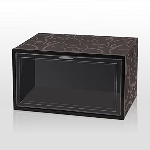 Caja de zapatos plegable apilable de plástico PP con tapa abatible, organizador de zapatos, cajón, caja de almacenamiento con puerta transparente para mujeres y hombres (color : patrón negro)