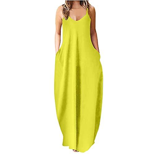 FOTBIMK Vestido largo sin mangas suelto liso para mujer con bolsillos