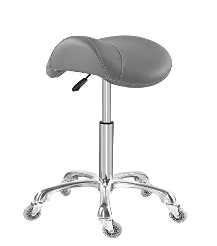 Saddle Stool Chair for Massage Clinic Spa Salon Cutting, Saddle Rolling Stool with Wheels Adjustable Height (Grey)