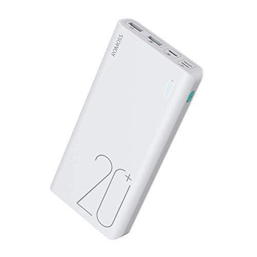 ROMOSS Powerbank 20000mAh Externer Akku USB C QC 3.0 Schnellladung PD Power Bank mit LED-Anzeige Tragbares Ladegerät für Handy, iPhone,iPad,Tablet und Mehr