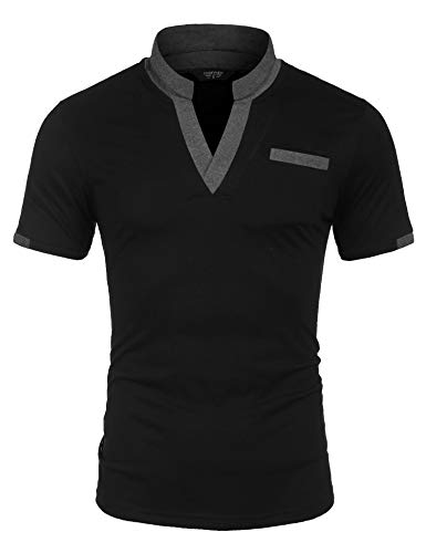 COOFANDY Black Polo Shirts for Men Regular Fit Sport T Shirt with Stand Up Collar Chest Pockets L