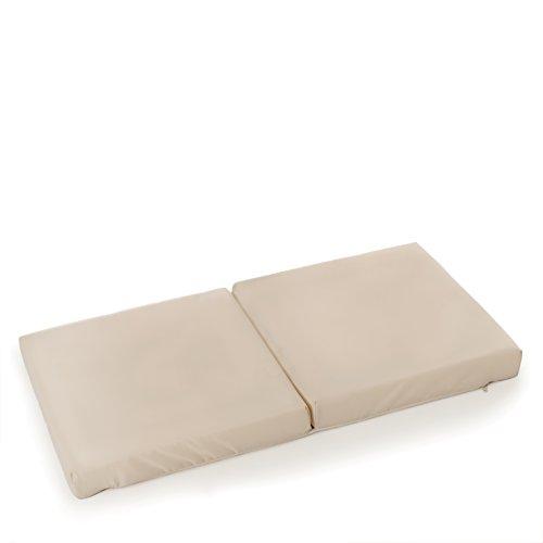 Hauck Sleeper Reisebett-/Schaumstoff Matratze, 82 x 45 cm, 6 cm hoch, 2 teilig zusammenklappbar, inklusive Transporttasche, kompatibel mit Dream'n Care Beistellbett, beige