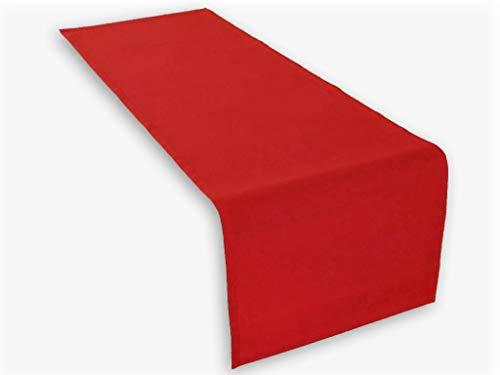 1 x runner da tavola colore rosso 45x150 cm 100% cotone 285 gr/qm. Di alta qualità. Lemos-Home