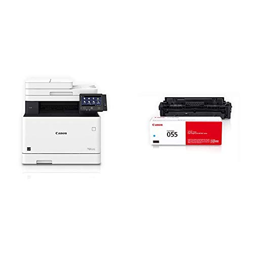 Canon Color Image Class MF743Cdw - All in One, Wireless, Mobile Ready, Duplex Laser Printer, White, Mid Size & Canon Genuine Toner, Cartridge 055 Cyan (3015C001) 1 Pack