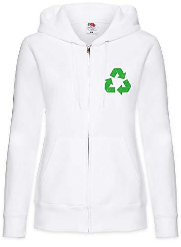 Urban Backwoods The Big Black Vintage Recycle Logo II Sudadera con Capucha Y Cremallera para Mujer Zipper Hoodie Blanco Talla 2XL