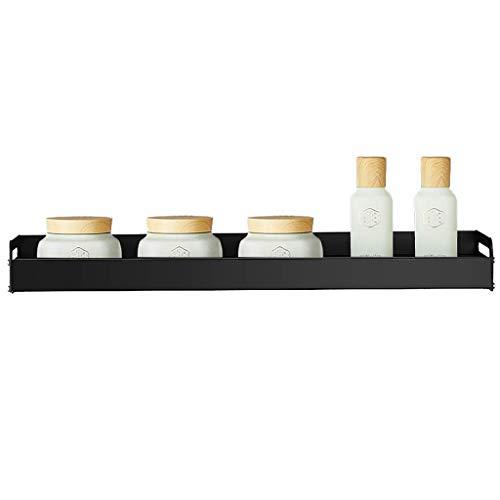 Geen boren aluminium legering badkamer opbergplanken lijm douche plank met 5 haken organisator Caddy, geschikt voor douche kamer badkamer hgjfgdfsdfsd 500×133mm (19.7in×5.2in) Zwart