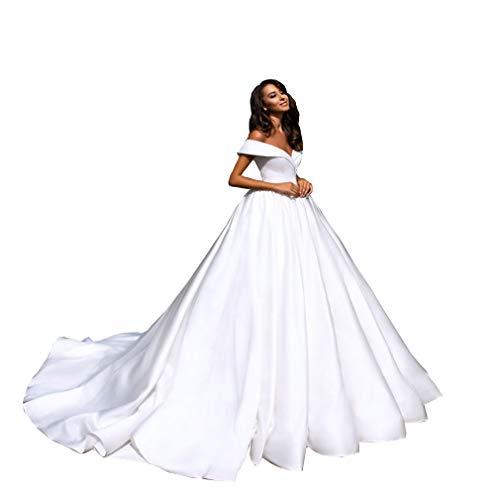 Satin Off the Shoulder Neckline a Line Wedding Dress