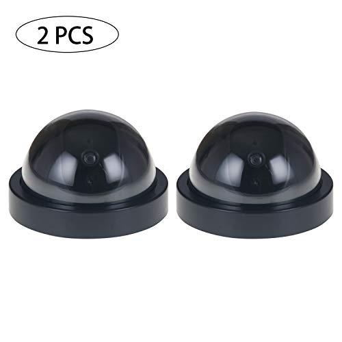 GCOA Dummy Kamera Gefälschte Überwachungs Sicherheits Outdoor Indoor CCTV Dome Kameras mit blinkendem rotem LED Licht, 2er Pack, schwarz