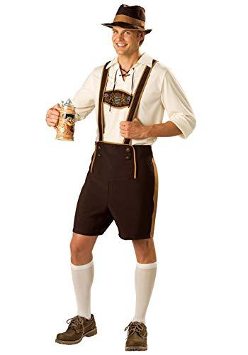 Herren Bayerischer Kostüm Kurze traditionelle Lederhose mit Hosenträgern T-Shirts Oberteil und Hut Alpenjäger Trachtenlederhose Oktoberfest Tracht