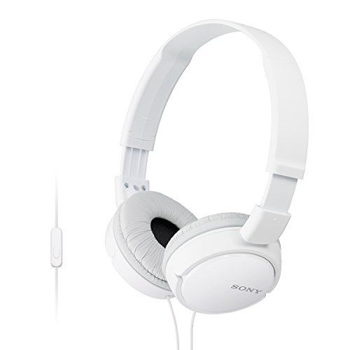 Sony MDR-ZX110AP On-Ear Stereo Headphones with Mic (White)