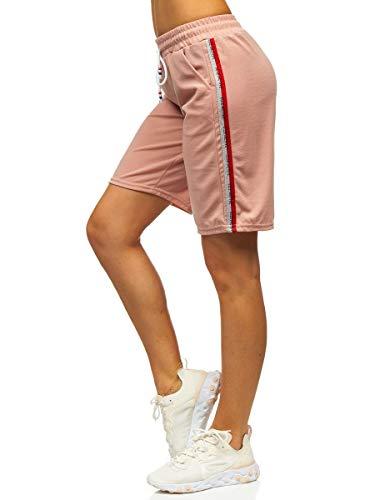 BOLF Damen Kurze Hose Bermudas Shorts Freizeithose Strech Shorts Sommerhose Slim Fit J.Style YW01022 Rosa(Hell) M [7G7]