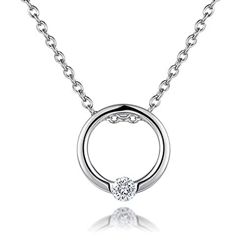 xu Exquisito y Simple Collar de Anillo de Diamante Intermitente de Plata esterlina S925 para Mujer, Cadena Corta para Mujer