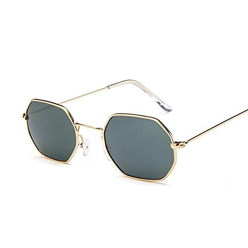 SHANGYUN Gafas de Sol hexagonales de Moda para Hombres y Mujeres, Gafas de Sol teñidas para Dama, Gafas de Sol para Mujer, Espejo Dorado, Verde Oscuro